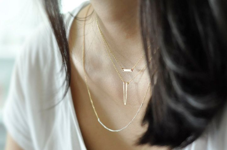 Apex - gold filled dagger necklace - minimalist jewelry. $27.00, via Etsy.
