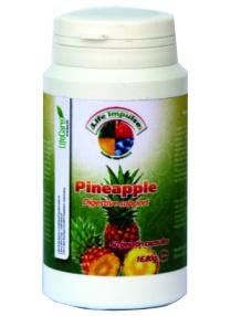 Formula suportiva pentru procesele de digestie - favorizeaza digestia, in special dupa mese bogate. Este recomandat ca adjuvant digestiv, fiind obtinut din ananas. Cutie cu 60 de capsule gelatinoase = 16,80 g