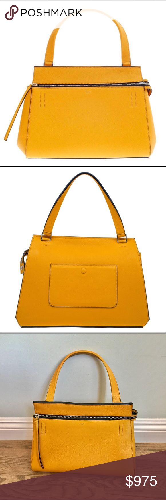 Celine Small Edge Bag, Saffron Drummed calfskin leather Céline Small Edge bag with silver-tone hardware, single flat shoulder strap, foil-stamped logo accent at front face, back exterior snap pocket, black lambskin leather lining, three pockets at interior walls; one featuring zip closure and zip closure at top. Protective metal feet at bottom. Includes dust bag and tags. Price firm; item not eligible for bundles.  Length: 31.5 cm Width: 15 cm Height: 25 cm Handle Drop: 16 cm Hardware…