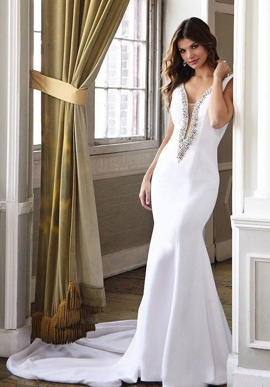 Silk trumpet wedding gown featuring an embellished plunging neckline | Jovani Bridal | https://www.theknot.com/fashion/jb25706-jovani-bridal-wedding-dress