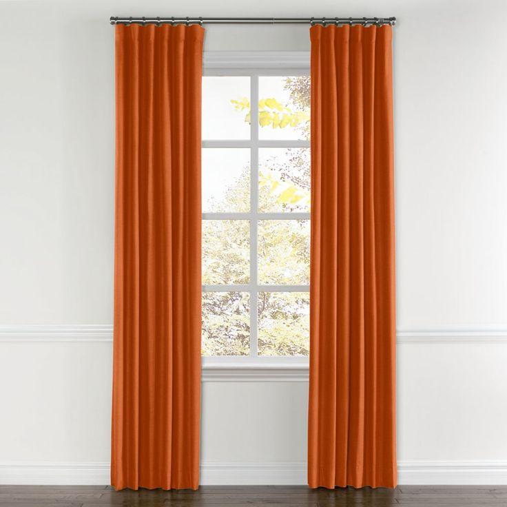 Burnt Orange Linen Curtain, Ring Top | Loom Decor
