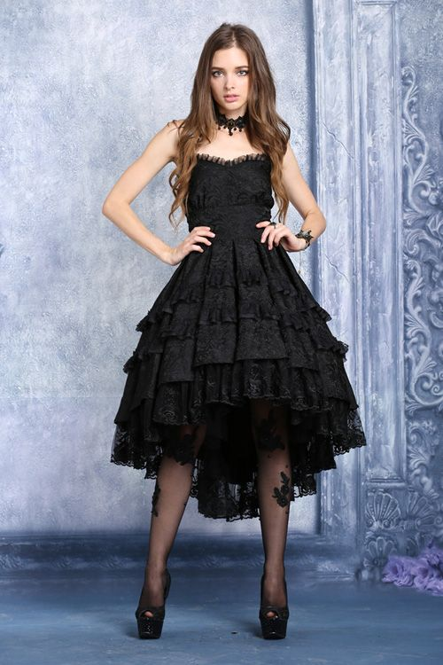 Love black gathered under bust dress