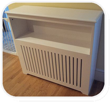 Radiator cover with shelf. Could be adapted for the mudroom area.