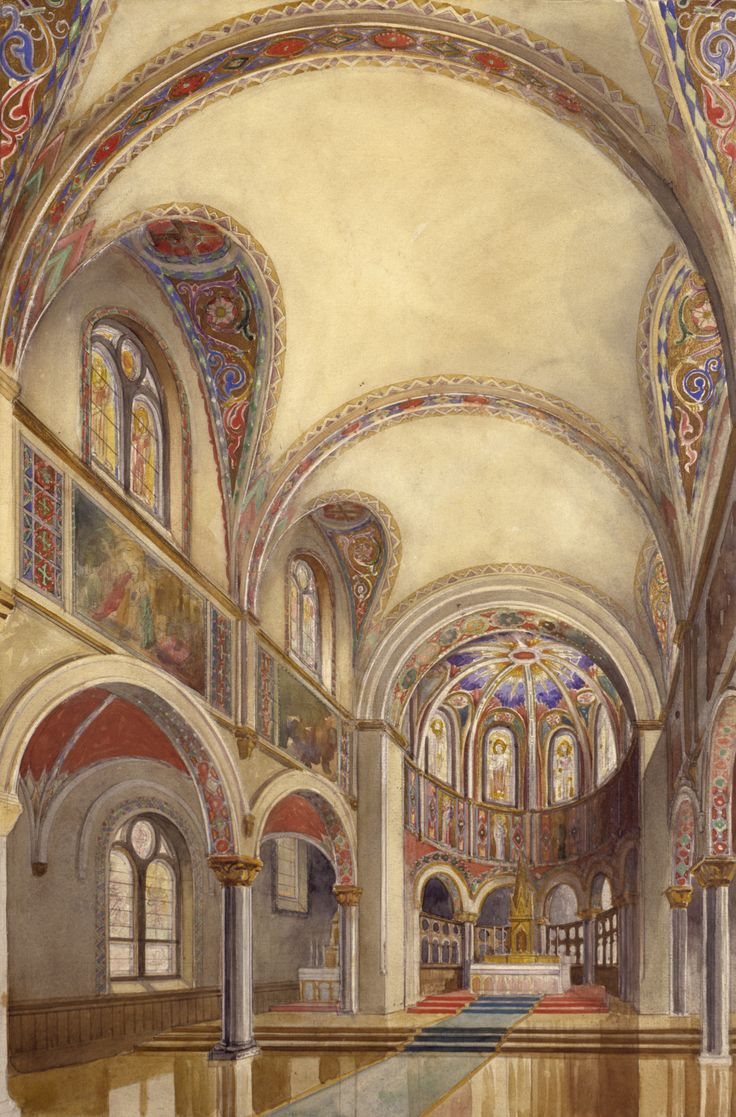 Historic Architectural Renderings of Church Interior by Conrad Schmitt Studios, Inc.
