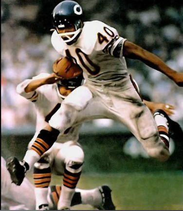 Gale Sayers Chicago Bears 1965-71. HOF Class '77.