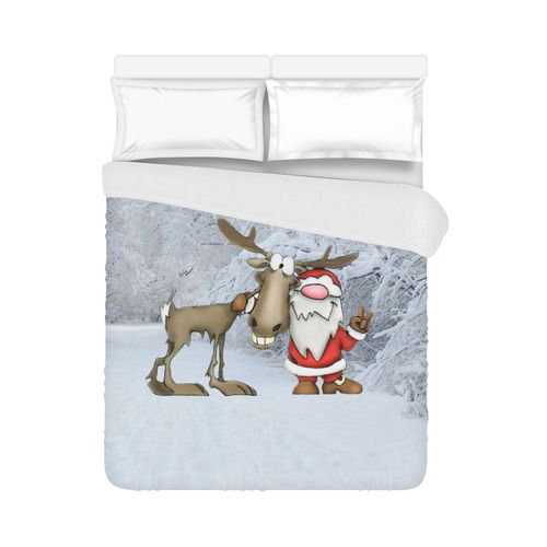 """Santa and Reindeer Duvet Cover 86""""x70"""" ( All-over-print)"""