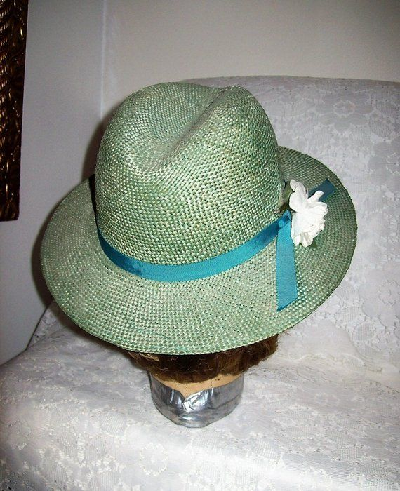 f450b0cc971 Vintage Ladies Sage Green Straw Hat w  Floral Trim by Jane Morgan Small  Medium Only 12 USD  hats  strawhat  JaneMorgan  fedora