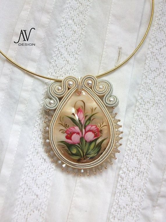 Soutache pendant Flowers by AnnetaValious on Etsy,