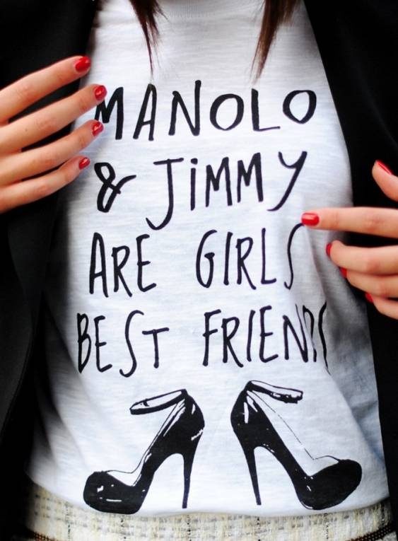 Graphic tees are perfect for pairing with more structured or tailored  pieces thsi Spring. {Manolo & Jimmy are a girls best friends}