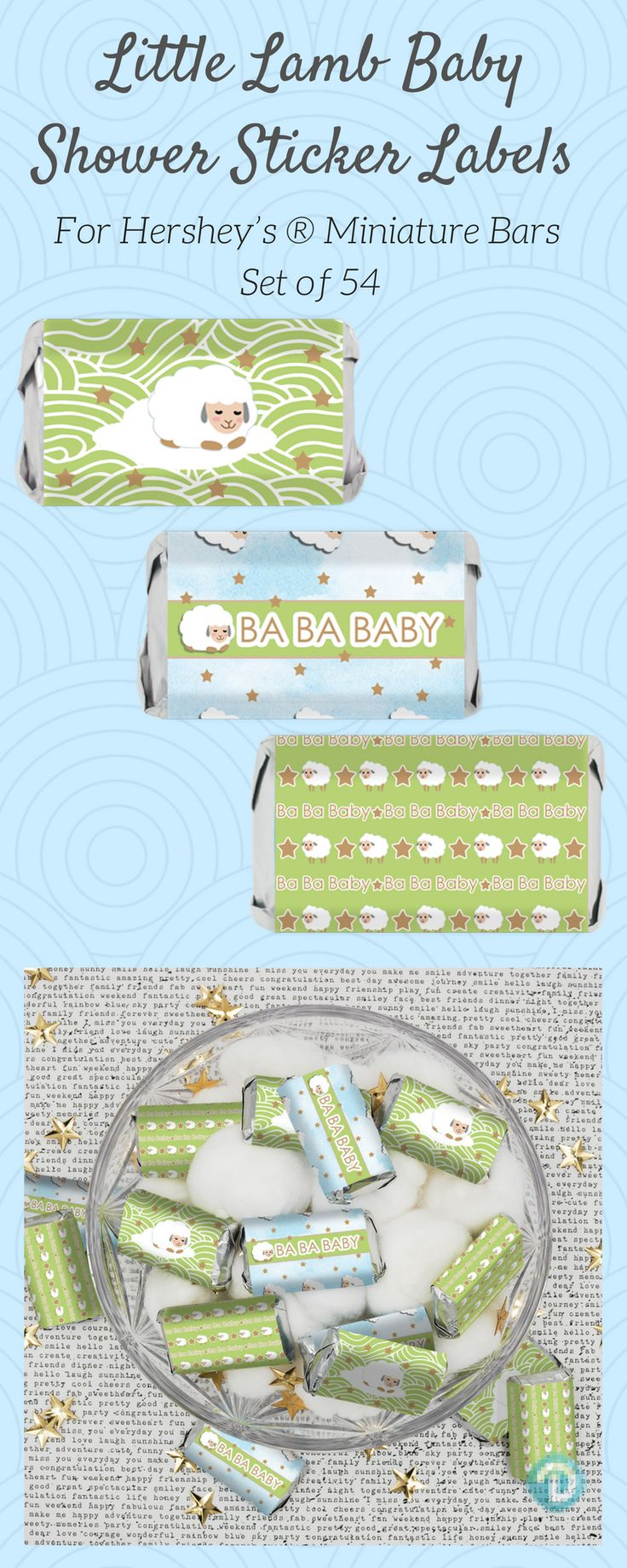 These blue, green, and brown Little Lamb Baby Shower Stickers are made to perfectly wrap around Hershey's Miniatures Bars.