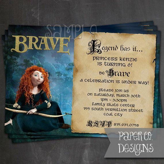 Printable Brave Princess Merida Birthday Invite  by PaperCoDesigns