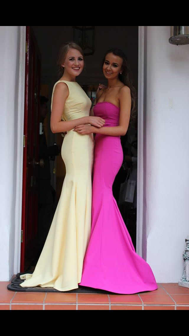 Kirsty Doyle Bespoke Bridesmaid dresses (but worm as prom gowns) . Featuring our most popular style the LD Cowl Back Bridesmaid gown in primrose yellow.  #kirstydoyle #bespoke #bridesmaids #promqueens