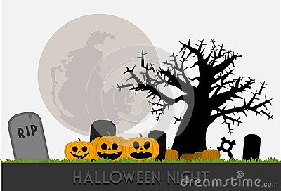 Halloween night illustration with pumpkins, tree, tombstones and moon vector  for your project