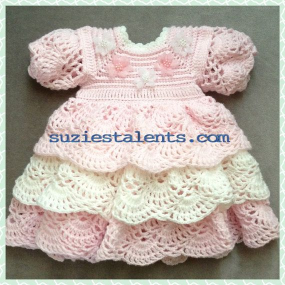 PATTERN PT014 - Crochet Baby Layers Dress, Baby Dress pattern, Layers Dress Pattern, Crochet Baby Dress, Baby Ruffle Dress Pattern