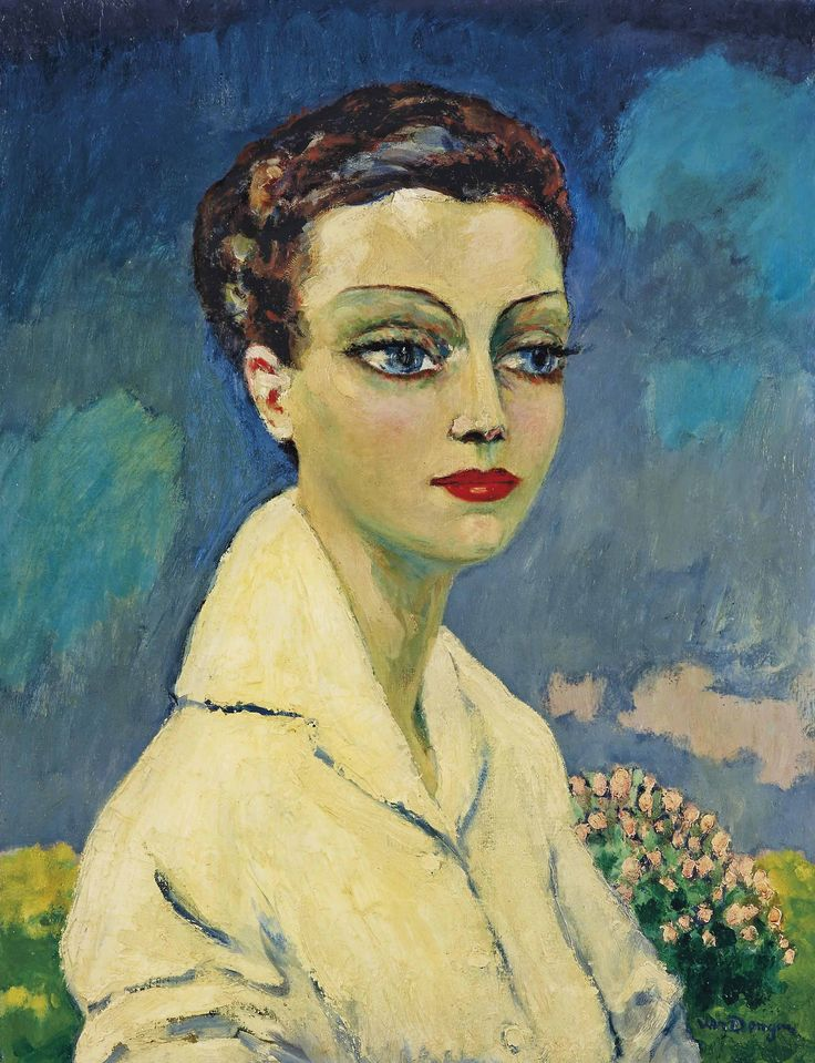 """""""Kees van Dongen (Dutch 1877-1968) Femme à la blouse blanche (n.d.) oil on canvas 65.8 x 50.3 cm """""""