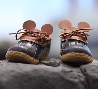 L.L.Bean made these adorable Mickey Mouse Ear Bean Boots for Japan's Disney Sea.  Available only at Disney Sea in Japan.  Special Goods produced by L.L.Bean Brunswick, Maine | 東京ディズニーシー
