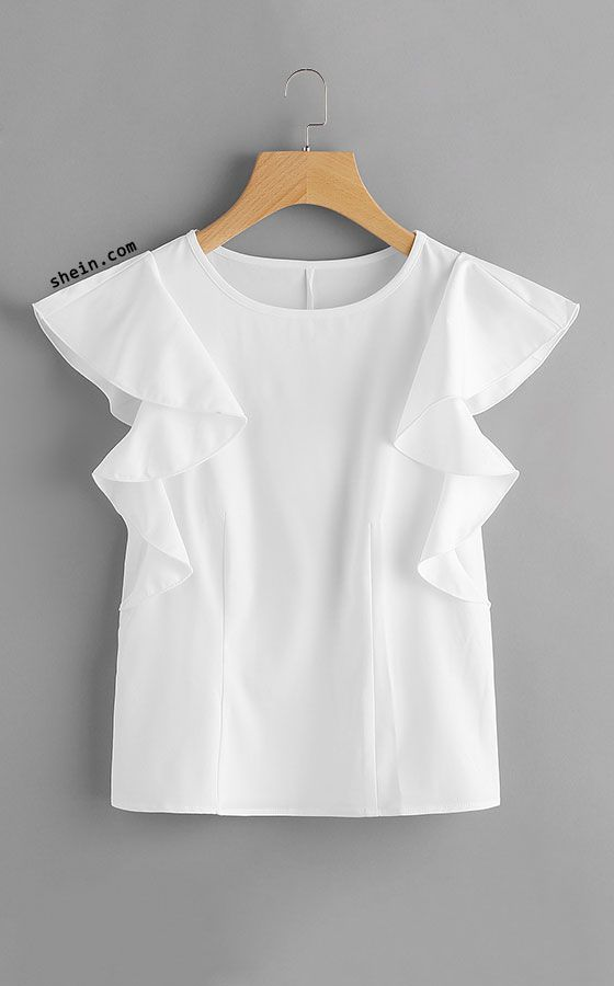 Ruffle Sleeve Top. Three colors available.