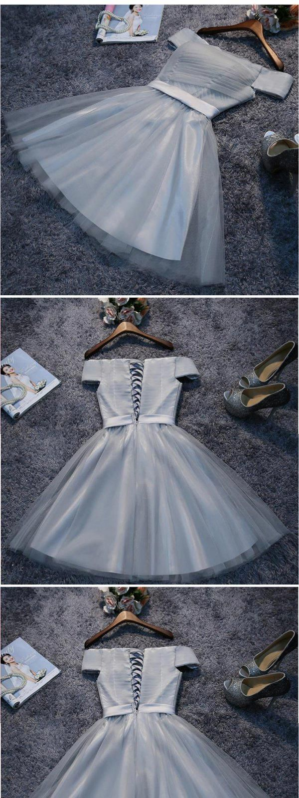 Offtheshoulder lace up grey tulle homecoming dresses cheap short