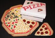 Plastic Canvas Pattern: Pizza Coasters, with a Sewn Pizza Box! (LOVE the original patterns at craftdesigns4you.com. . .Cherie's work is so much fun!)