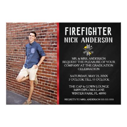 Trendy Firefighter School Graduation Announcement - invitations custom unique diy personalize occasions