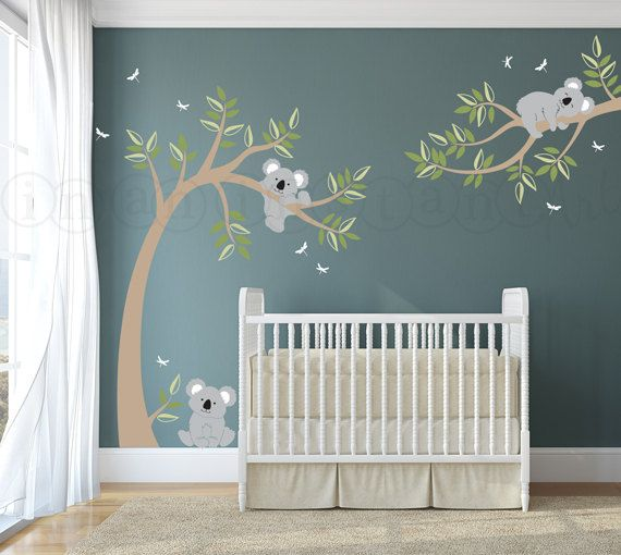 Koala Bear Wall Decal, Koala and Branch Wall Decal, Koala Tree Wall Decal with Dragonflies for Baby Nursery, Kids or Childrens Room 058
