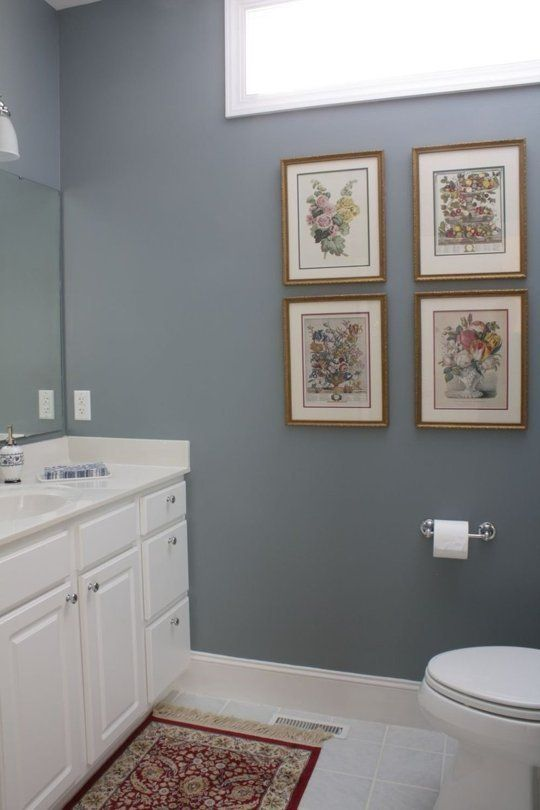 Paint Color Distant Thunder is a stormy, barely-blue gray that will provide elegance to an understand bathroom.