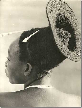 Africa |  Mangbetu hairstyle, Congo, 1958  (I WISH my hair could do that!)