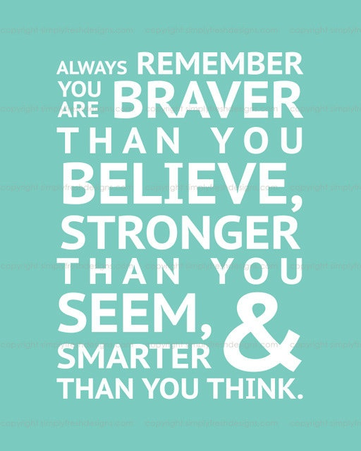 Winnie the Pooh - BRAVER, STRONGER, SMARTER - Subway Art - Digital File. $5.00, via Etsy.