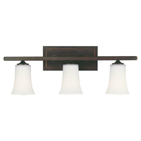 Enjoy the contemporary design of this three light vanity fixture. The sleek lines and oil rubbed bronze finish make this fixture a stylish and elegant lighting option. Setting: Indoor Fixture finish: