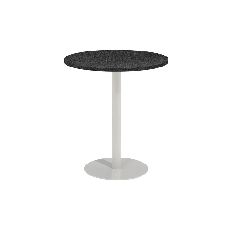Travira 36 Round Bar Table Powder Coated Steel Frame Lite-Core Granite Charcoal Top - Oxford Garden, Charcoal Tabletop
