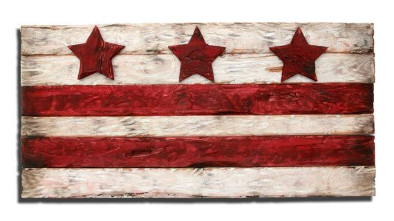 District of Columbia flag, Weathered Wood One of a kind, Wooden, vintage, art, distressed, recycled, Washington DC flag art. home decor, red on Etsy, $170.00