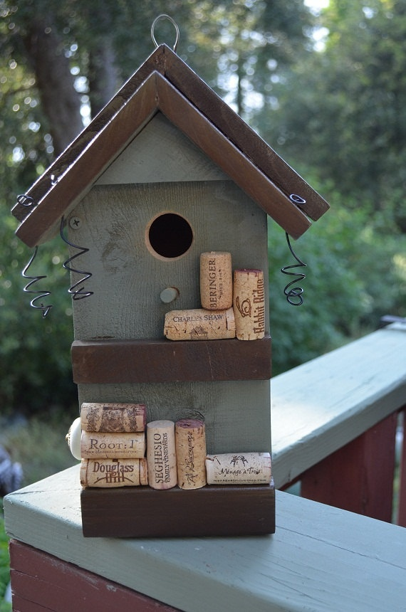 Wine Cork Birdhouse Functional For Birds / Repurposed Decorative Bird House / Painted Sage Green & Brown / Free Shipping. $60.00, via Etsy.