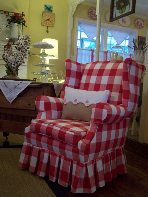 comfy looking chairYellow Wall, Wings Chairs, Travel Tips, Cottages, Wingback Chairs, Buffalo Check, Red Gingham, Country, White Buffalo