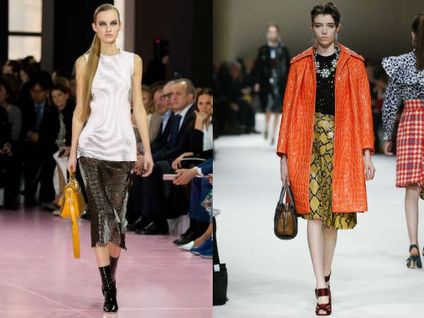 Carven, Dries Van Noten, Lacoste, Bottega Veneta, Miu Miu, Christian Dior showed again fashionable prints for the coming cold season. Thus, in Fall-Winter2015-2016 season designers recommend us to wear plaid, floral, stripes, leopard, snake and several other geometric figures. Well, if someone can not decide, we recommend you to try combining several patterns into a single image. For example, Miu Miu perfectly combined geometry with animal motifs.