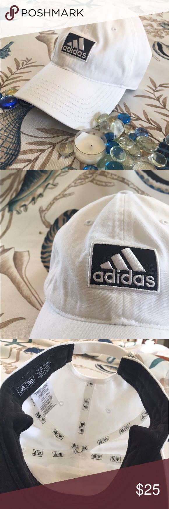 💯BRAND NEW, ALL ⚪️⚪️⚪️ ADIDAS HAT💯 BRAND NEW just doesn't have tags on it still ~ NEVER BEEN WORN ~ mint condition ~ Great addition for the prime time of summer and or any occasion year round ❤️⚪️⚫️⚪️⚫️❤️ ADIDAS HAT w/ a metal adjustable head strap -- no trade but flexible on pricing -- adidas Accessories Hats