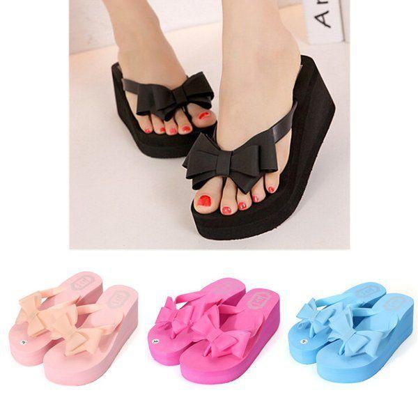 56a32dd496fd Women Platform Mid Heel Flip Flops Beach Sandals Bowknot Slippers   beachsandals