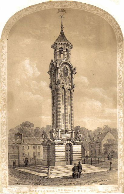An 1848 Engraving of Epsom Clock Tower Image courtesy of Surrey Libraries and is held in the  Epsom & Ewell Local And Family History Centre