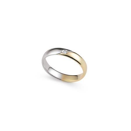 Fede Nuziale Orsini oro giallo e bianco con diamante FE302 - FEDI ORSINI Gioiel
