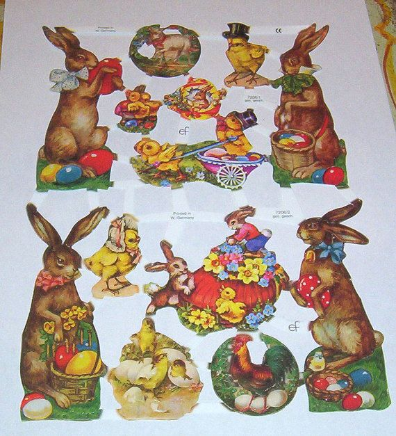 New Victorian German litho scrap diecut sheet cute Easter Bunny Rabbit eggs chicks scrap booking decoupage collage  decoupage EF 7206