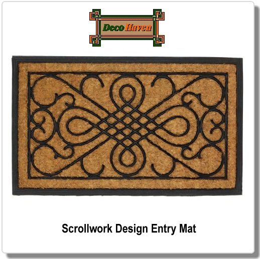 Scrollwork Design Entry Mat - Welcome your guests in style with this gorgeous entry mat. Made from rubber and coir, a fiber made from coconut husks, it's the perfect addition to your doorstep that's functional and fashionable.