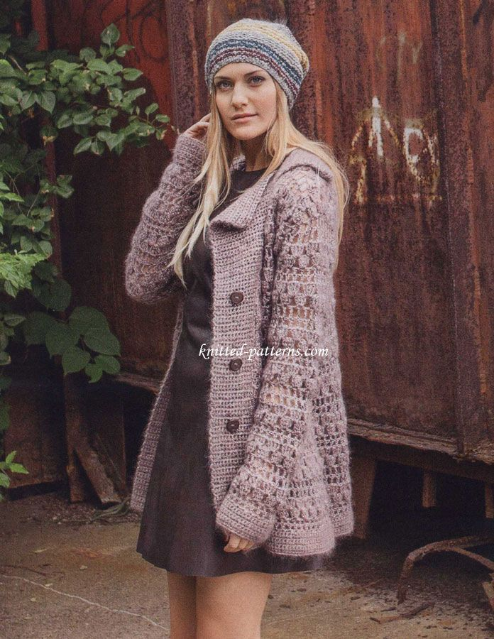 Crocheted jacket with lapel - free pattern                                                                                                                                                     More