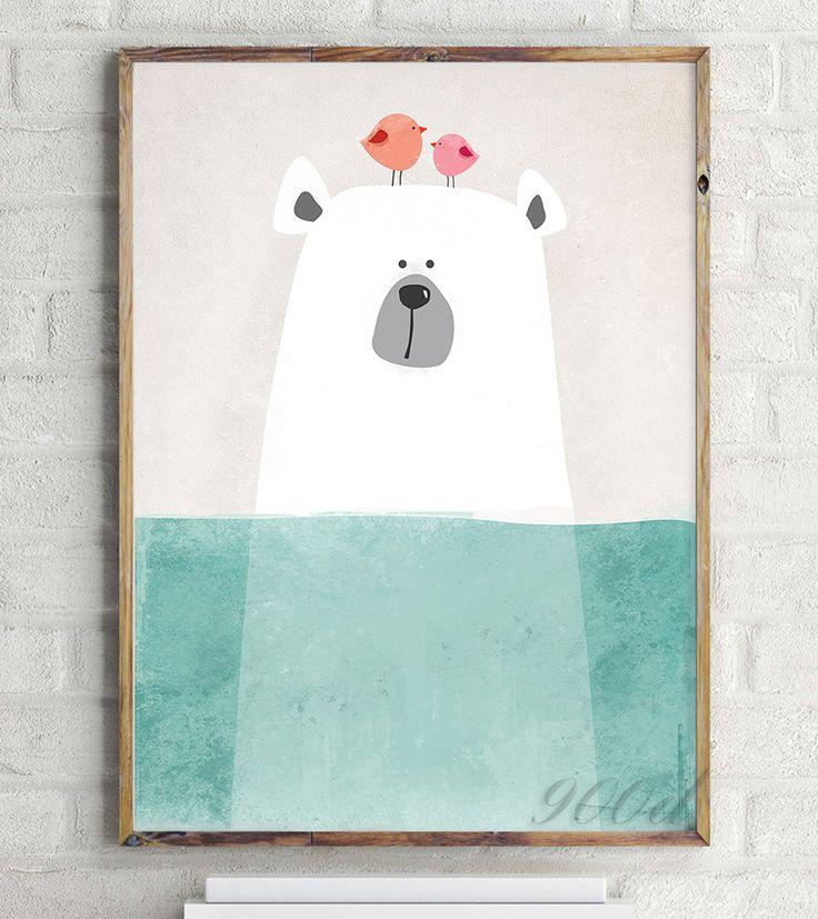 Cartoon Leuke Ijsbeer Canvaskunst Schilderen Poster, Muur Foto voor Woondecoratie, Muur Decor FA400 3 in Materiaal:canvastechnologieaf te drukken( de print bevat geen frame)Grootte:Wij bieden vele gr van Schilderen& kalligrafie op AliExpress.com | Alibaba Groep