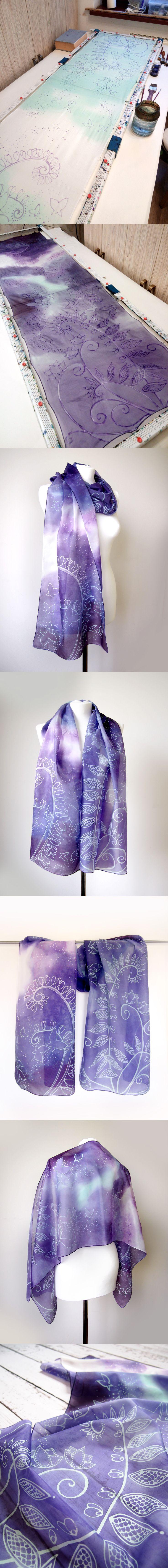 Silk #scarf #purple and #mint with a #zentangle pattern of #fern and #butterflies Hand painted by #MinkuLUL Luiza Malinowska
