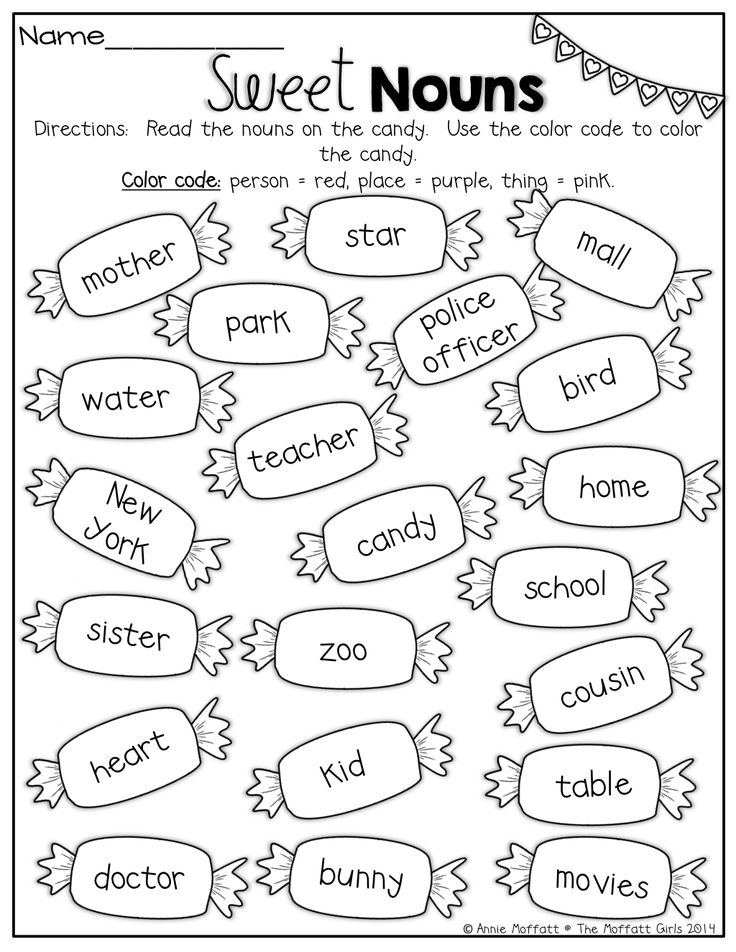 Sweet Nouns!  Color by the code to identify proper and common nouns