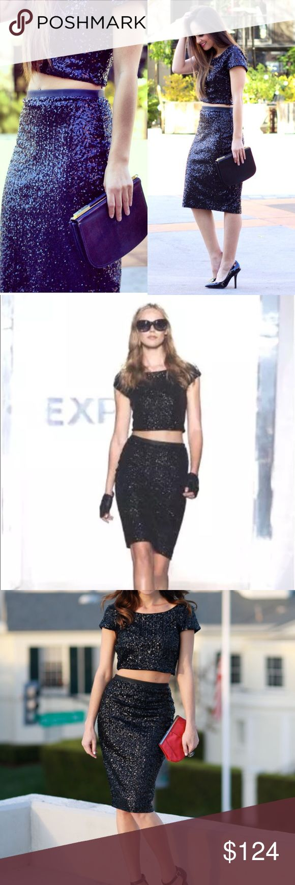 Sequin Crop Top & Pencil Skirt Worn once and dry cleaned! Outfit was almost $200 at Express & a blogger favorite! Skirt waistband has a faux leather trim for detail! Would look great with a bold lip or Statement shoe! Express Dresses Midi