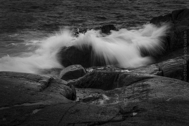 Gale wave in Stockholm archipelago Baltic Sea Sweden. Photo in black & white.