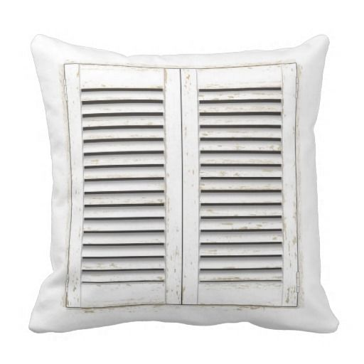 Old white window shutters square pillow