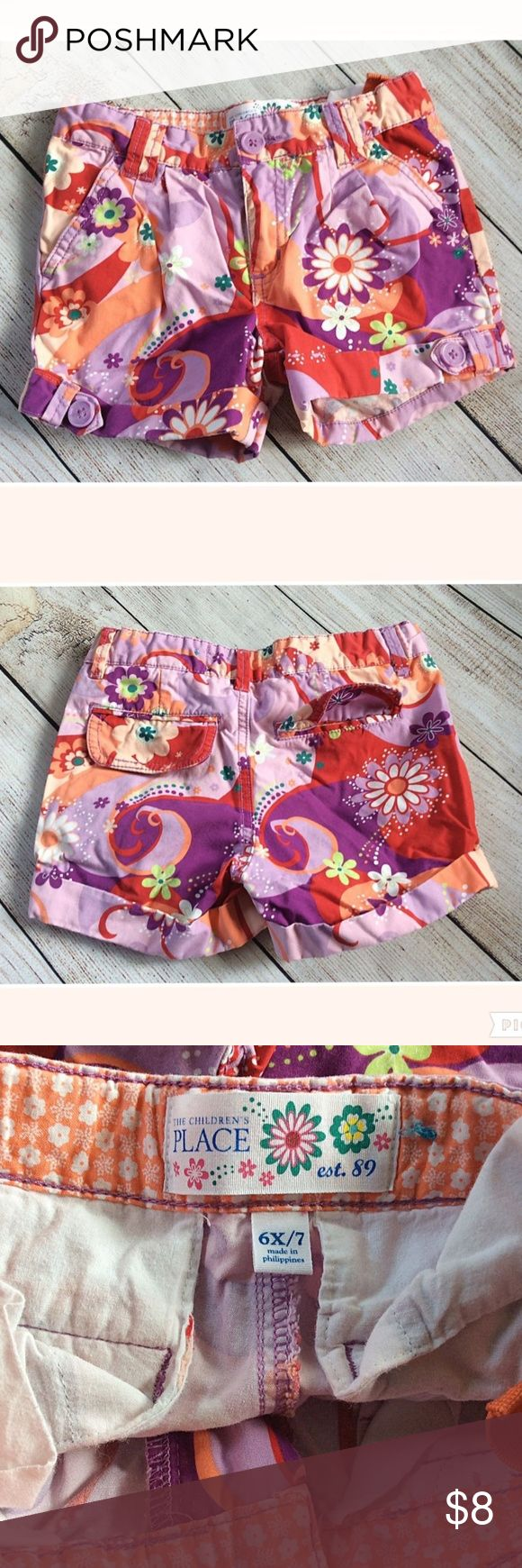 """6X/7 Girls Shorts Pink Purple Psychadelic Floral The Children's Place girls shorts size 6X-7. Good condition. Adjustable waist.  Measurements laying flat  Waist 11.5""""  Rise 7""""  Inseam 2.5"""" The Children's Place Bottoms Shorts"""