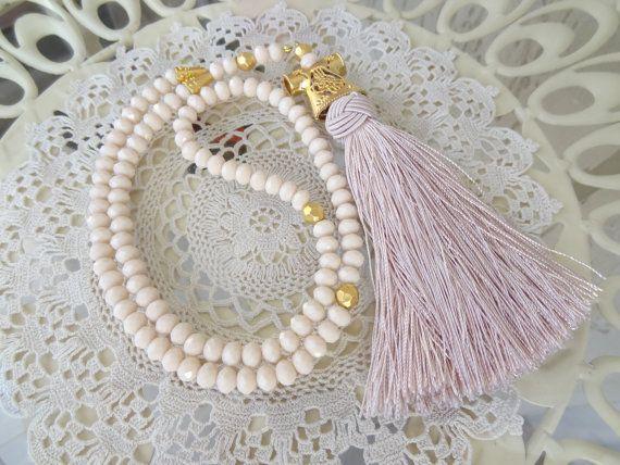 Turkish Islamic 99 Prayer Beads Pink Powder Tassel Tesbih