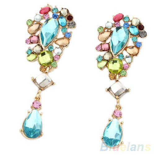 Womens-Iridescent-Shiny-Crystal-Dangle-Earrings-Rhinestone-Blue-Stone-Ear-Studs